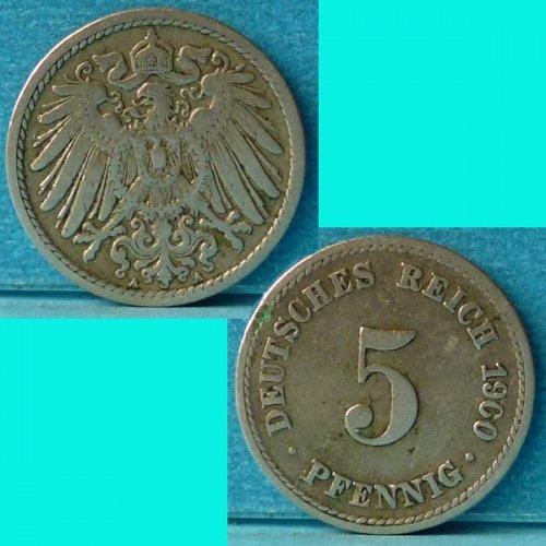 Germany Empire 5 Pfennig 1900A km 11