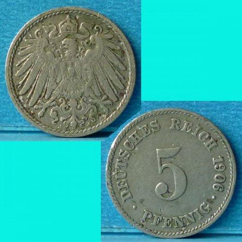 Germany Empire 5 Pfennig 1906 J km 11