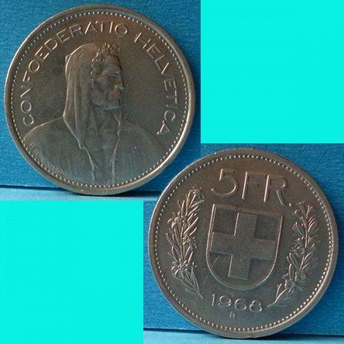 Switzerland 5 Franc 1968 km 40a.1