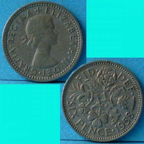 UK Great Britain 6 Pence dated 1958 QEII km 903