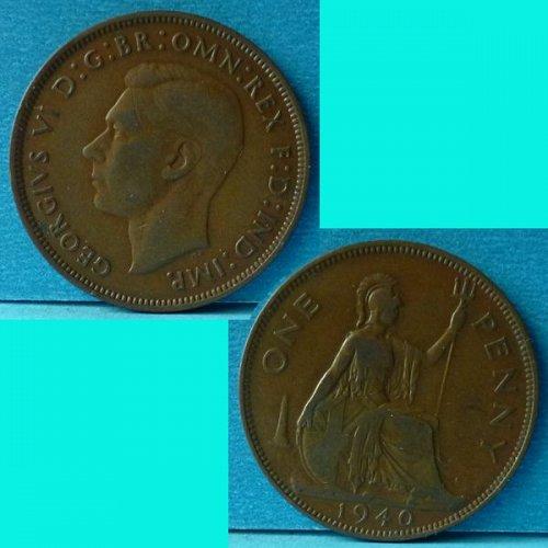 UK Great Britain 1 Penny 1940 KGVI km 845