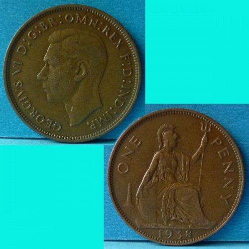 UK Great Britain 1 Penny 1938 KGVI km 845