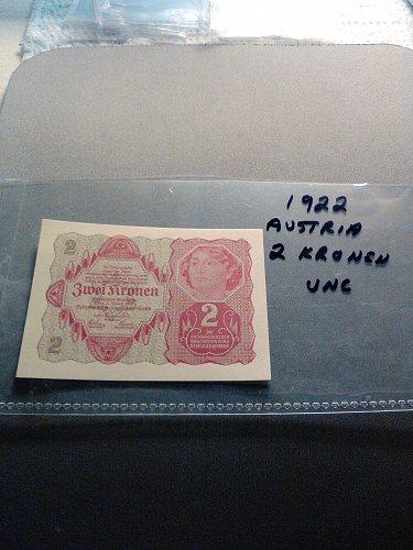 1922 AUSTRIA 2 KRONEN NOTE