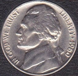 1960 P Jefferson Nickel