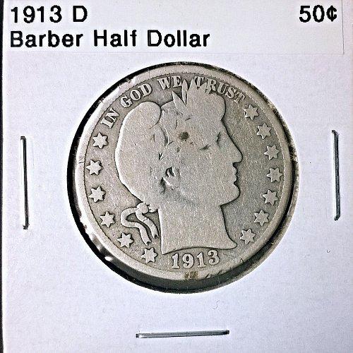 1913 D Barber Half Dollar - 4 Photos!