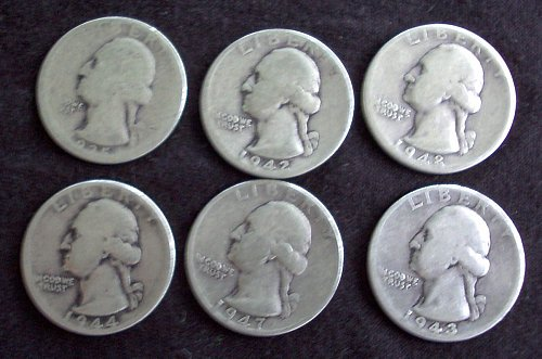 1947 D Washington Quarter + 5 More 1935-48 G-F
