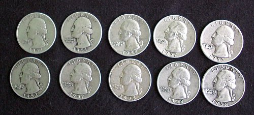 1952D +(9) More 1950s Washington Quarters 1951=59 F-EF