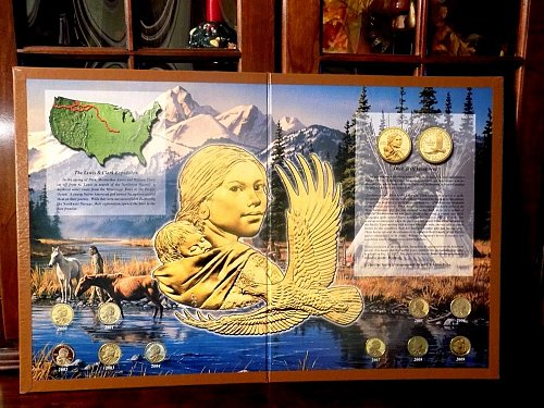 Sacagawea Golden Dollar Collector Board Complete With 10 Sacagawea Proof Coins