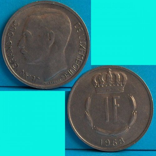 Luxembourg 1 Franc 1968 km 55