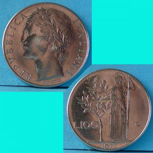 Italy 100 Lire 1977 R km 96