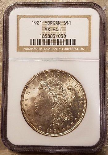 1921 P Morgan Dollar MS-64 NGC