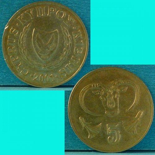 Cyprus 5 Cents 2001 km 55.3