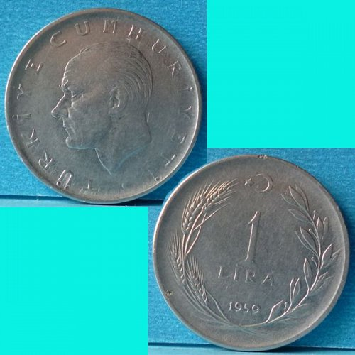 Turkey 1 Lira 1959 km 889a.1
