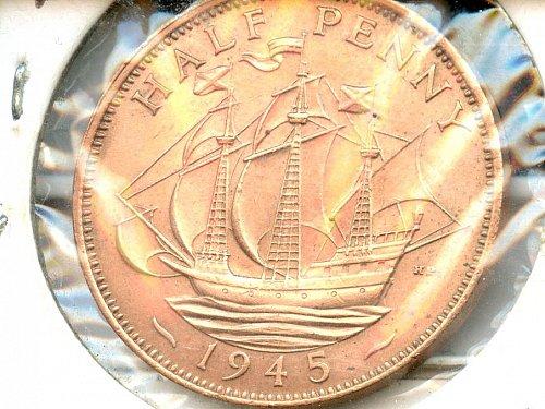 1945 British Half penny