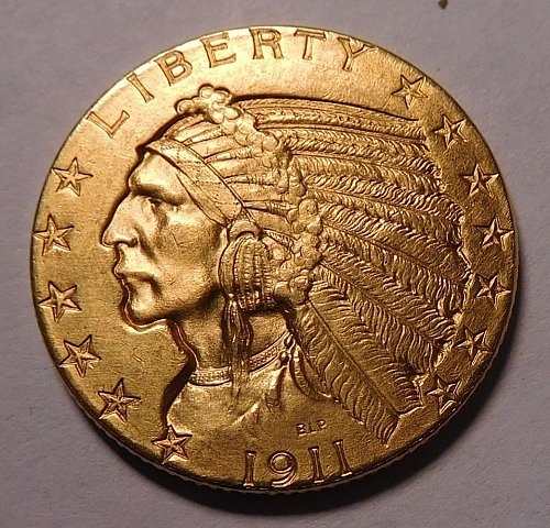 1911 $5.00 GOLD HALF EAGLE CHOICE UNCIRCULATED