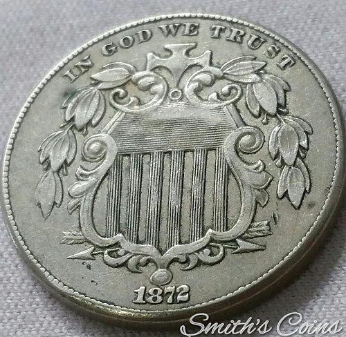 1872 Shield Nickel ~ XF ~ DDO