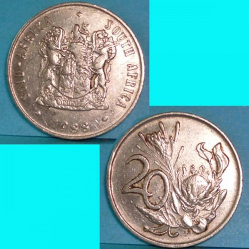 South Africa 20 Cents 1988 km 86