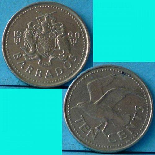 Barbados 10 Cents 1990 km 12