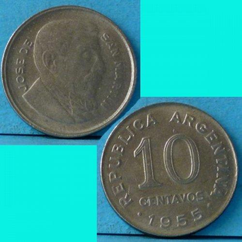 Argentina 10 Centavos 1955 km 51