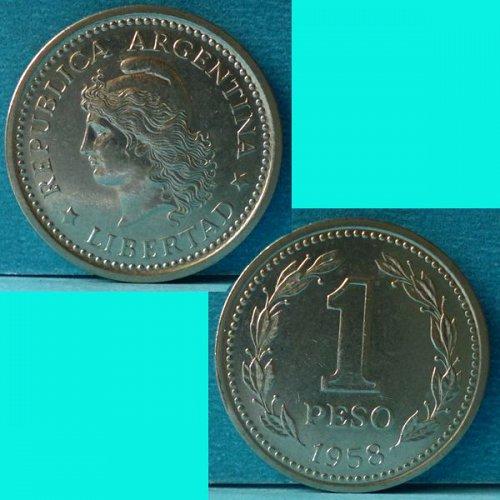 Argentina 1 Peso 1958 km 57