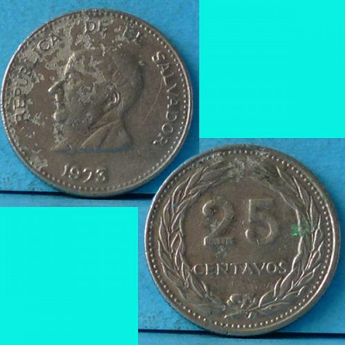 El Salvador 25 Centavos 1973 km 139