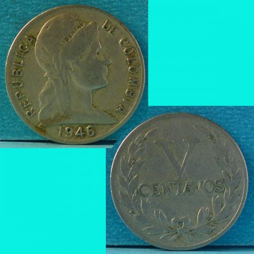 Colombia 5 Centavos 1946 km 199