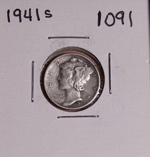 1941 S MERCURY DIME #1091
