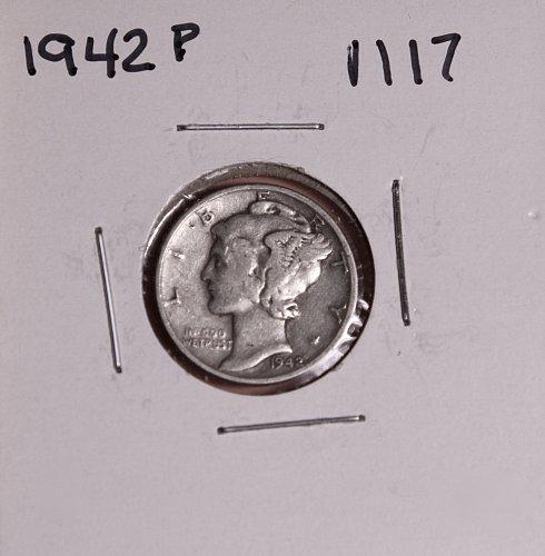 1942 P MERCURY DIME #1117