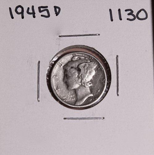 1945 D MERCURY DIME #1130