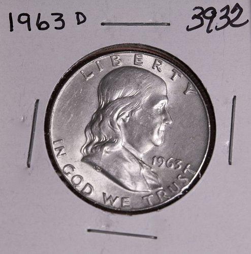 1963 D FRANKLIN HALF DOLLAR #3932 BU  FREE SHIPPING !
