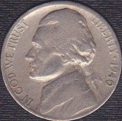 1940 S Jefferson Nickel