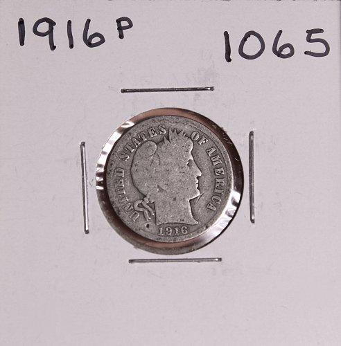 1916 P BARBER DIME #1065