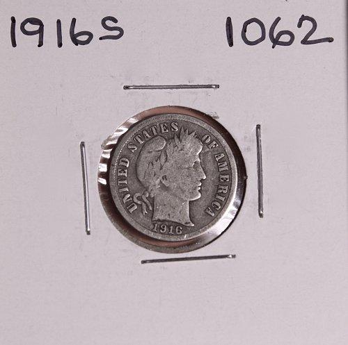 1916 S BARBER DIME #1062