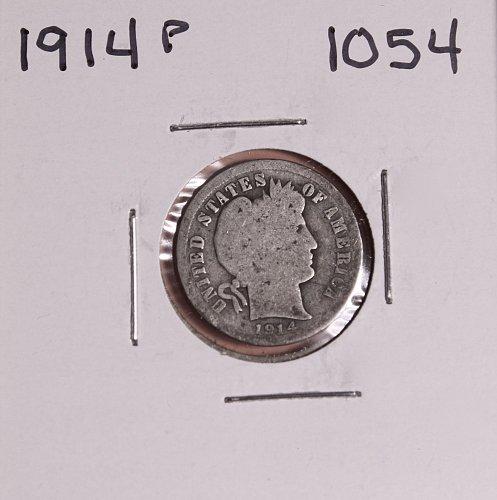 1914 P BARBER DIME #1054