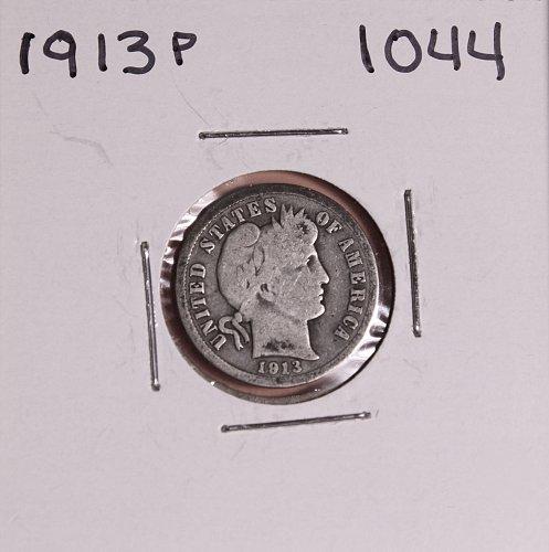 1913 P BARBER DIME #1044