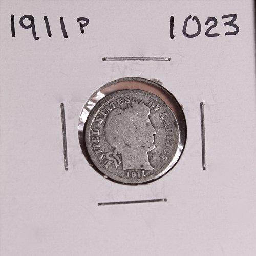 1911-P BARBER DIME #1023