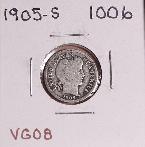 1905-S BARBER DIME #1006