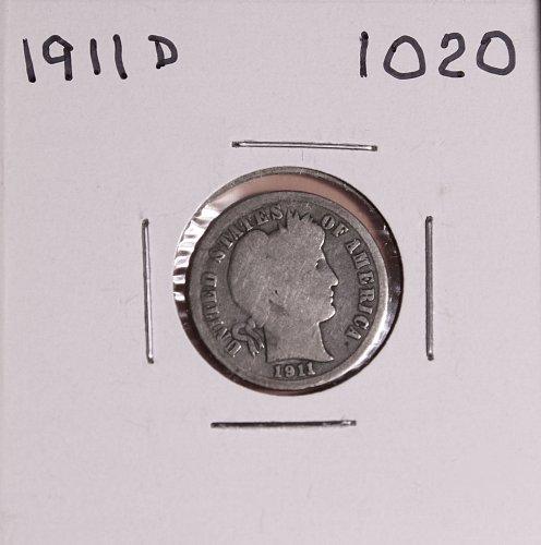 1911 D BARBER DIME #1020