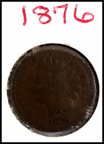 1876 P Indian Head Cent Small Cent