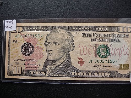 2009  U.S. $10.   Note