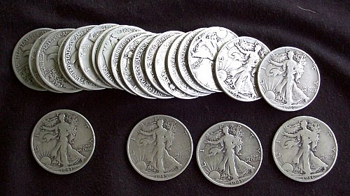 1940s Walking Liberty Halves Roll