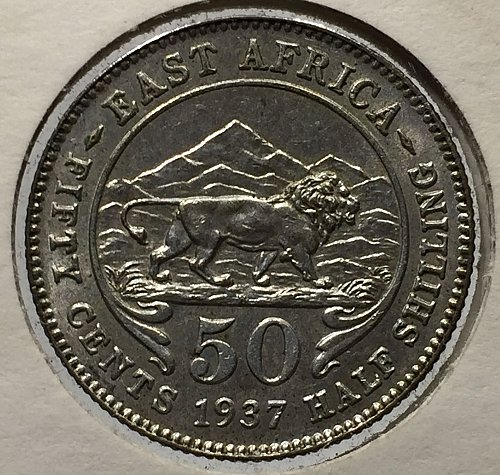 1937H East Africa 1/2 Shilling 50 Cents