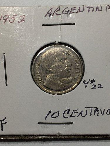 1952 Argentina 10 Centavos