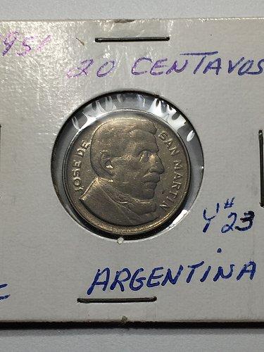 1951 Argentina 20 Centavos