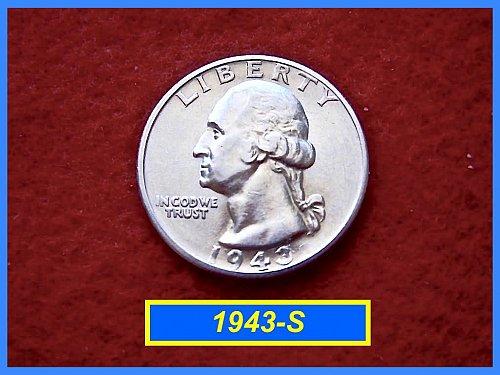 """1943-S Washington  Quarter • Grade: """"AU-50"""" • 90% Silver  (#2225)"""