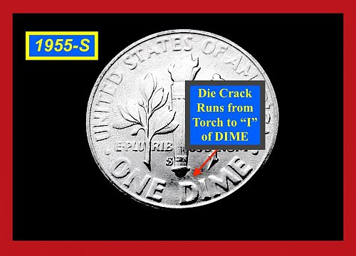 "1955-S ""MS-64""  Roosevelt • REVERSE Die Crack • Roll End Toned  •(#3370)"