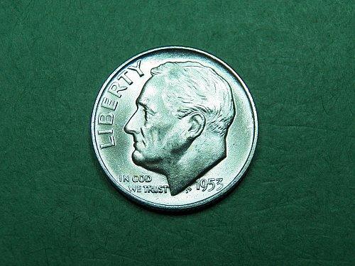 1953 D Roosevelt Dime Gem Uncirculated Coin   i24