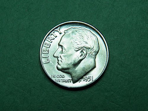 1951 D Roosevelt Dime Brilliant Uncirculated Coin   i22