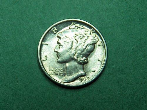 1939 S Mercury Dime XF-AU Coin   i32