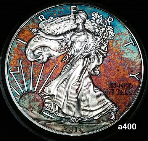 2015 Rainbow Toned Silver American Eagle 1 troy ounce silver Monster  #a400